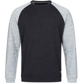 super.natural Signature Contrast Crew Trui Heren, jet black melange/ash melange/fresh white back